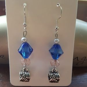 Blue 💙 Crystal/ Braided Silver Hanging Charm
